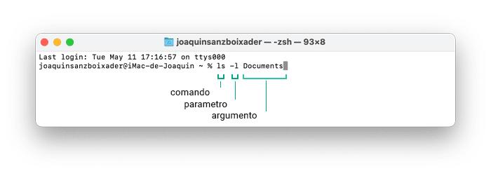 Joaquin Sanz - Comandos básicos de Terminal en macOS, Comando, Parametro y Argumento