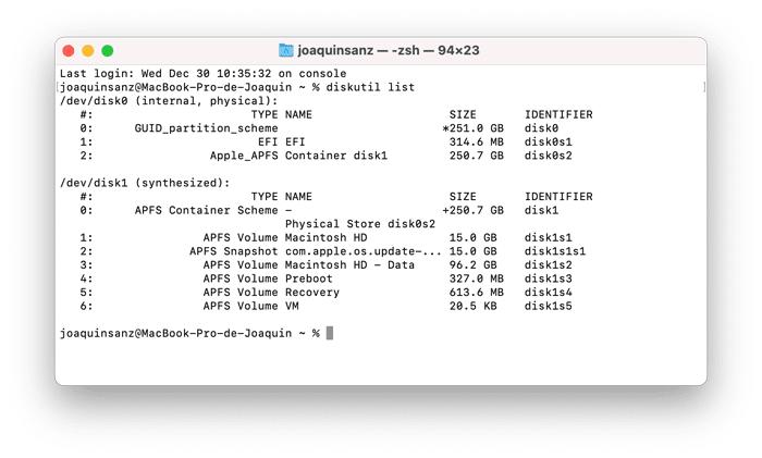 Joaquin Sanz - Instantáneas en el formato APFS de macOS - Terminal